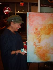 Artist, Sunny Raschke, at an Art and Coffee Event
